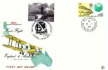 1969 Notable Anniversaries, Connoisseur 50th Anniversary First Flight England to Australia FDC, 1/9d stamp Only, Collingham Wetherby Yorkshire cds, Double date 12th April 2001 40th Anniversary First man in Space H/S