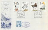 1989 Sea Birds Lundy Protection of Birds Official FDC, Lundy Island Bristol Channel Bideford Devon H/S + Lundy 3 Puffin stamp Cancelled with Lundy Bristol Channel Cachet.