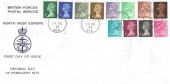 1971, ½p - 9d First Decimal Definitives, North West Europe Forces FDC, FPO 955 cds