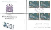 1975 Parliament, Registered Post Office FDC, Registered Buckingham Palace SW1 Purple Oval cds