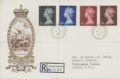 1969 QEII 2/6d, 5/-, 10/-, £1 High Value Definitive Issue, Registered Philart Windsor Castle FDC, Buckingham Palace SW1 cds