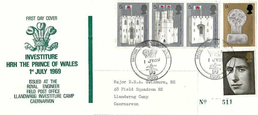 1969 Investiture, Scarce Royal Engineers Official First DayCover, BFPS 1000 H/S