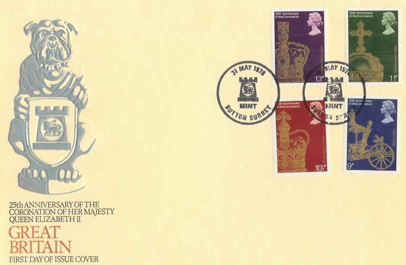 978 25th Anniversary of the Queen's Coronation Sutton Mint Official FDC, Sutton Mint Surrey H/S