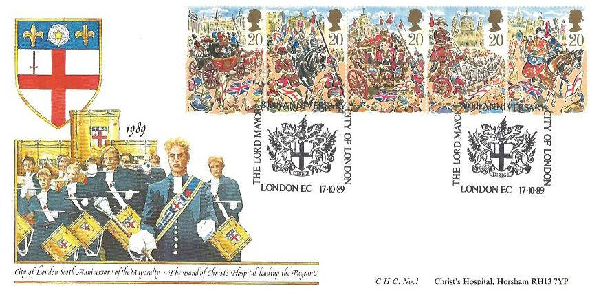 1989 The Lord Mayor's Show, Christ's Hospital Horsham First Day Cover, 800th Anniversary The Lord Mayor City of London EC H/S