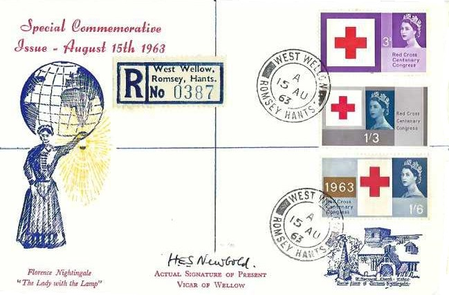 1963 Red Cross Phosphor Set on Registered First Day Cover, West Wellow cds