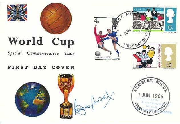 1966 World Cup, Connoisseur FDC, Wembley Middx FDI. Signed by Bobby Moore, England Captain when England Won the World Cup
