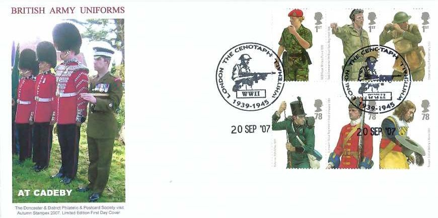 2007 Army Uniforms, Doncaster & District Philatelic & Postcard Society First Day Cover, The Cenotaph Whitehall London WWII  1939 - 1945 H/S