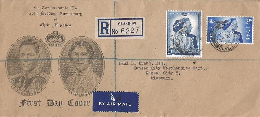 1948 Silver Wedding, Registered Ian B Pollock Stamp Dealer First Day Cover, Registered Glasgow cds