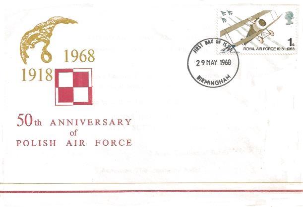 1968 British Anniversaries, Polish Air Force Association First Day Cover, 1s RAF Stamp only, Birmingham FDI
