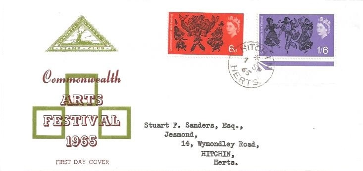 1965 Commonwealth Arts Festival, SCARCE North Herts. Stamp Club First Day Cover, Hitchin Herts. cds