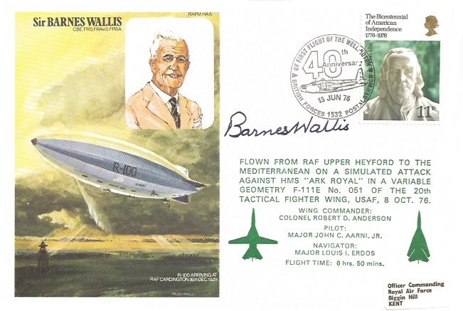 1976 40th Ann.First Flight of the Wellington, Signed by Barnes Wallis Inventor of the Bouncing Bomb