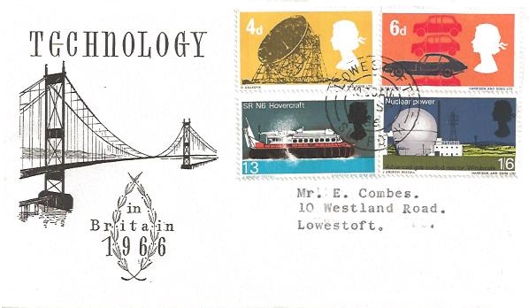 1966 British Technology, Illustrated First Day Cover, Lowestoft Suffolk cds