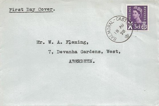 1958 QEII 3d Scottish Regional, Plain First Day Cover, Balmoral Castle cds