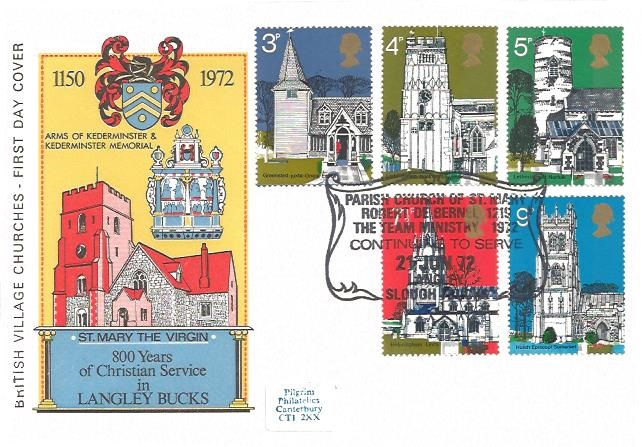 1972 Village Churches, St.Mary the Virgin First Day Cover, Parish of St.Mary Langley Slough H/S