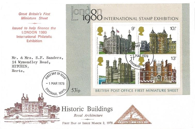 1978 Historic Buildings Miniature Sheet, North Herts Stamp Club First Day Cover, Stevenage FDI