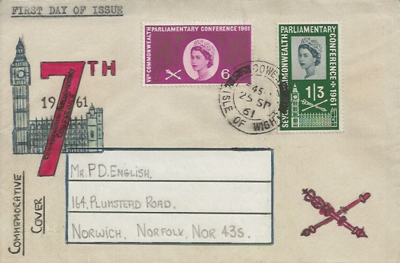 1961 Parliament, Hand Illustrated First Day Cover, Cowes Isle of Wight cds