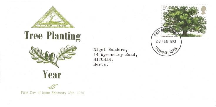 1973 British Trees The Oak, North Herts. Stamp Club First Day Cover, Stevenage Herts. FDI