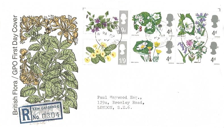 1967 Wild Flowers, Registered GPO First Day Cover, Kew Gardens, Richmond Surrey cds