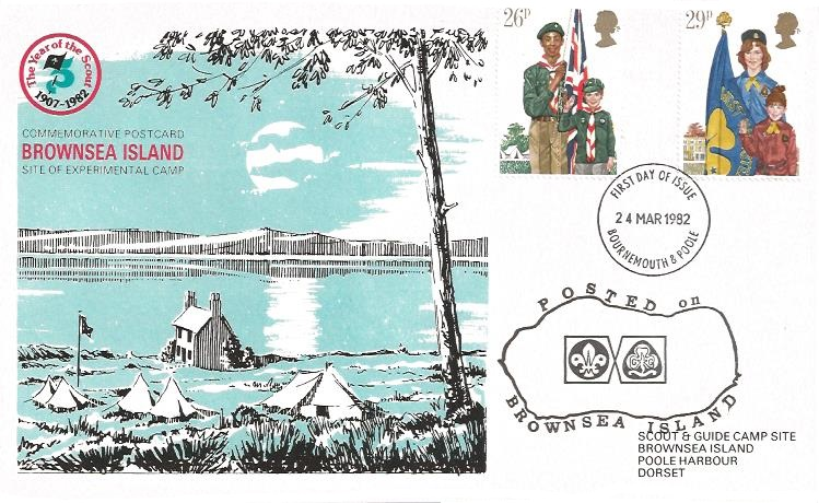 1982 Youth Organisations, Scout & Guide Camp Brownsea Island Card First Day Cover, 26p & 29p stamps only Bournemouth & Poole FDI