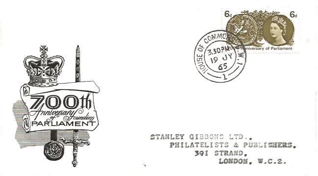 1965 700th Anniversary of Parliament, Illustrated FDC, Phosphor set, House of Commons SW1 cds