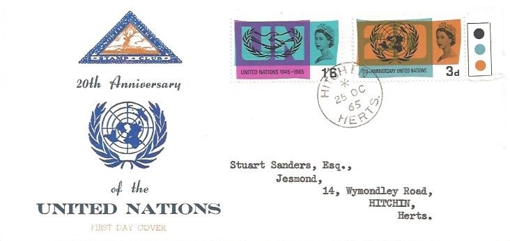 1965 United Nations, North Herts. Stamp Club SCARCE First Day Cover, Hitchin Herts. cds