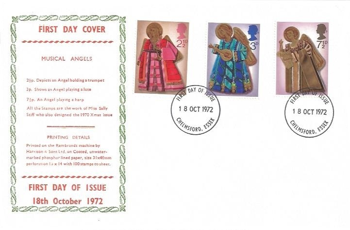 1972 Christmas, Musical Angels FDC, Chelmsford Essex FDI. SCARCE COVER DESIGN - NOT SEEN BEFORE!