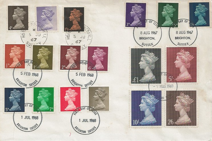1967 to 1969 Pre-decimal Multi Value QEII Definitive Machin issues, 5 Sets on Plain First Day Cover, all the correct issue dates