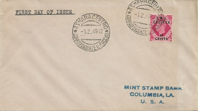1949 8d KGVI 65 Cent B.M.A. Eritrea Overprint, Plain First Day Cover, Asmara Centro cds