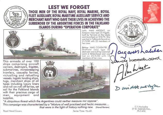 1996 Lest We Forget, Royal Naval Cover, 14th Anniversary Argentine Surrender, Signed by Margaret Thatcher