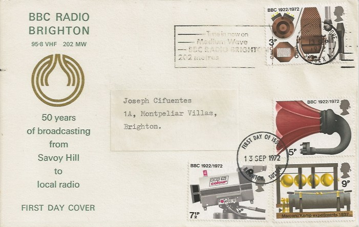 1972 BBC, BBC Radio Brighton First Day Cover, Tune in now on Medium Wave BBC Radio Brighton 202 Metres Slogan