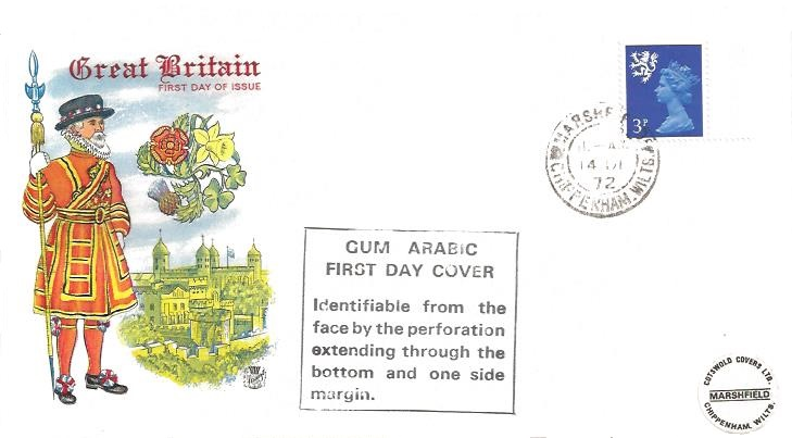 1972 3p Scottish Regional Gum Arabic, Stuart First Day Cover, Marshfield Chippenham Wilts. cds + Cachet