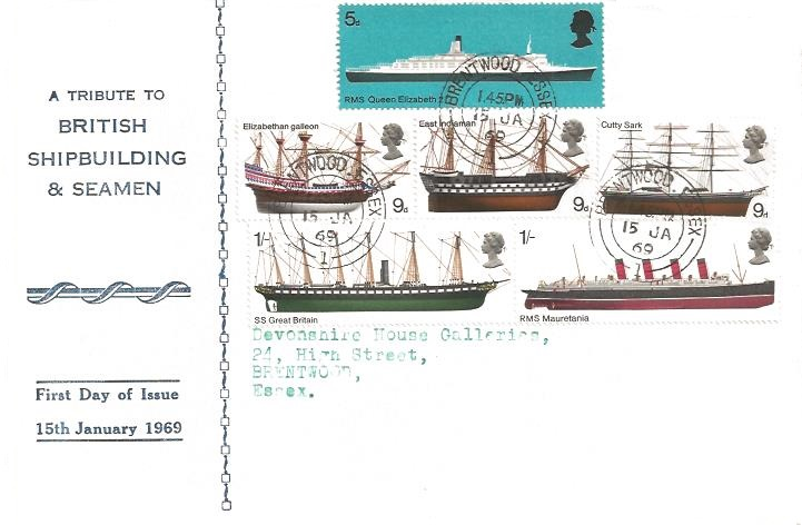 1969 British Ships, A Tribute to British Shipbuilding & Seamen First Day Cover, Brentwood Essex cds