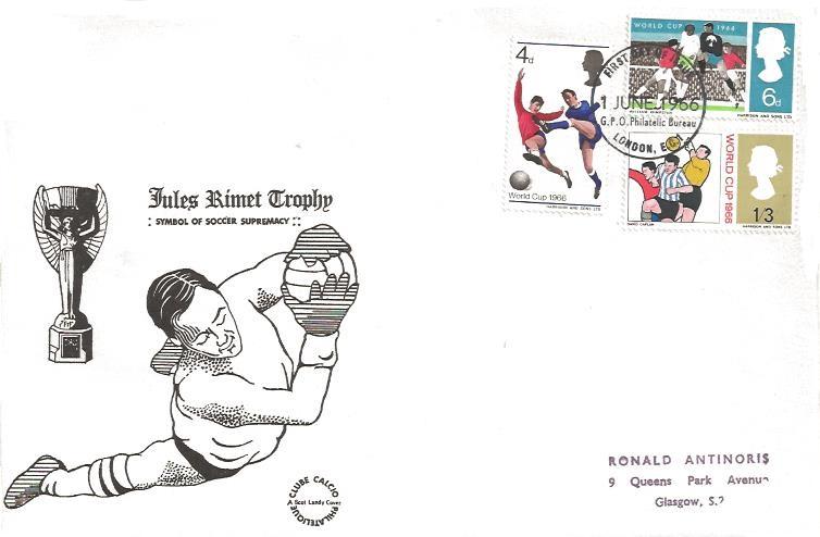 1966 World Cup Football, Scot Landy FDC, First Day of Issue GPO Philatelic Bureau London EC1 FDI