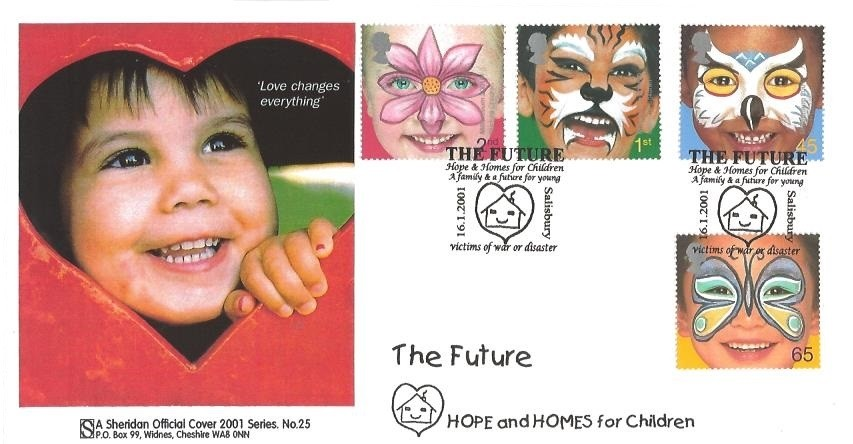 2001 The Future, Phil Sheridan Official First Day Cover series No.25. The Future Hope & Homes for Children A family & a future for Young Victims of War or disaster Salisbury H/S