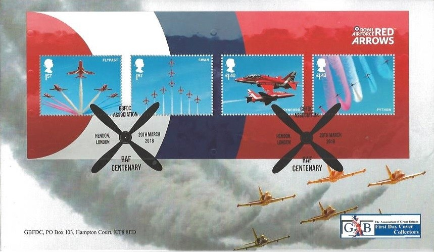 2018 Royal Air Force, GBFDC Official First Day Cover No.62, GBFDC Association RAF Centenary Hendon London H/S