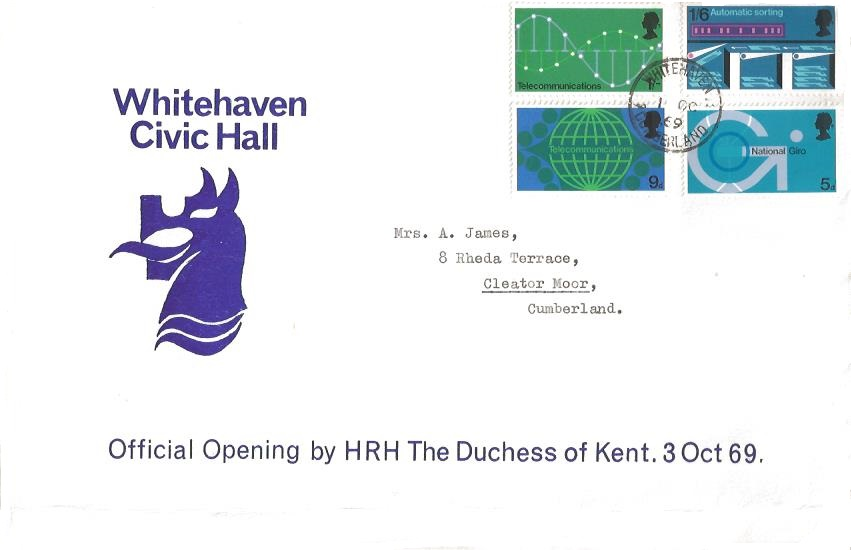 1969 Post Office Technology, Whitehaven Civic Hall First Day Cover, Whitehaven Cumberland cds