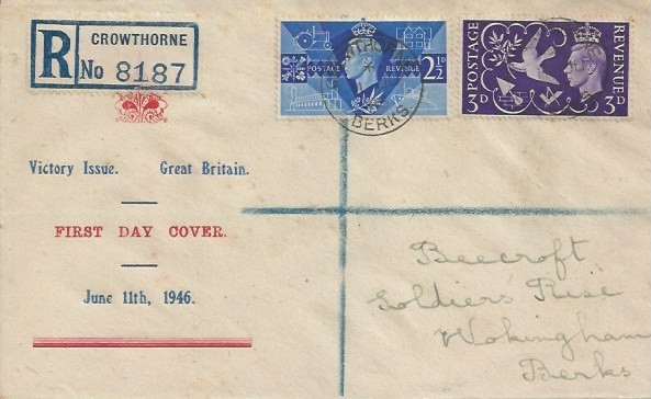 1946 Victory, Registered Display FDC, Crowthorne Berks cds. Crowthorne cds & back stamped. Very scarce cover design.