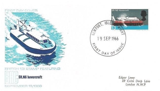 1966 British Technology, British Hovercraft Corp. First Day Cover, 1/3d Hovercraft stamp only, Newport Isle of Wight FDI