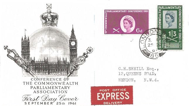 1961 Parliament, Express Delivery BPA/PTS FDC, London SW1 cds
