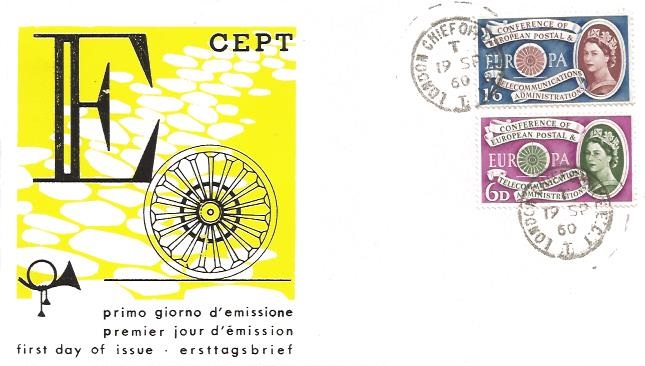 1960 Europa, Italian Illustrated FDC, London Chief Office EC1 cds
