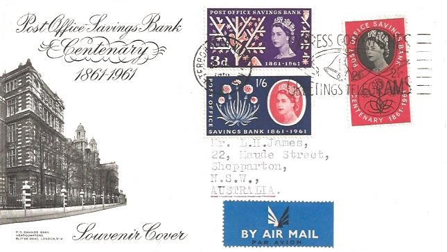 1961 Post Office Savings Bank Centenary, BPA/PTS FDC, Express Good Wishes by Greetings Telegram Peterborough Slogan