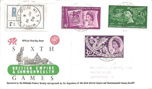 1958 Commonwealth Games, Registered BPA/PTS FDC, Mobile Post Office No.3 cds. VERY RARE