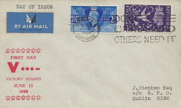 1946 Victory, Illustrated J Stephen FDC, Don't Waste Bread Others Need It Birkenhead Cheshire Slogan