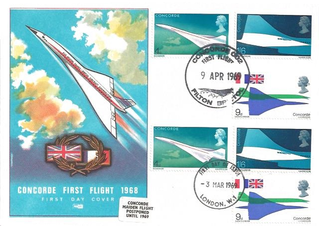 1969 Concorde, Philart Double Dated FDC, London W1 FDI, Concorde 002 First Flight 9th April 1969 Filton Bristol H/S