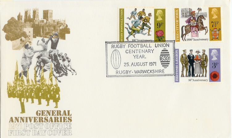1971 General Anniversaries, Post Office First Day Cover, Rare Rugby Football Union H/S
