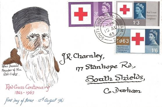 1963 Red Cross, Hand Painted Henri Dunant Founder of the Red Cross FDC, South Shields Co.Durham cds