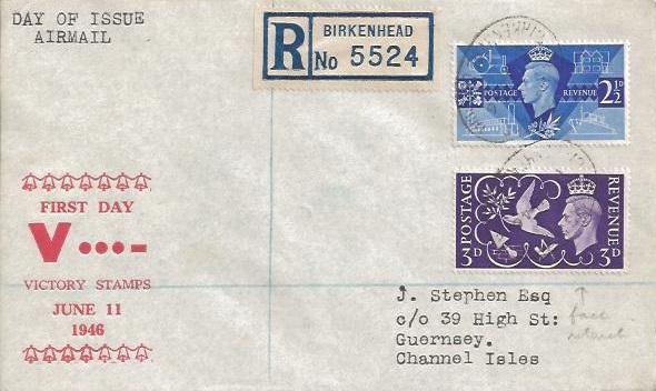 1946 Victory, Registered J.Stephen Airmail FDC, Birkenhead to Guernsey, Birkenhead Liverpool Oval cds