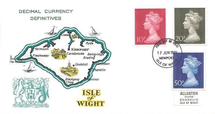 1970 QEII Definitive Issue, 10p, 20p, 50p, Isle of Wight FDC, Newport Isle of Wight FDI