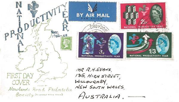 1962 National Productivity Year, Newlands Road Philatelic Society FDC, Croydon Surrey cds