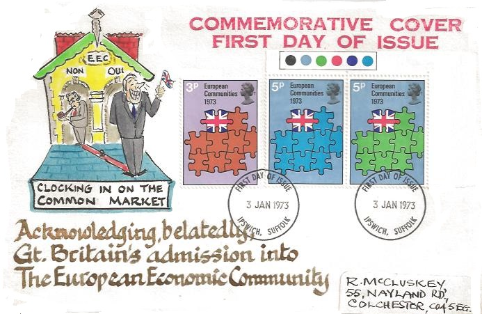 1973 European Communities, Hand Illustrated First Day Cover, Ipswich Suffolk FDI